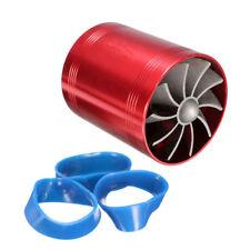 Car Supercharger Air Intake Turbonator Dual Fan Turbine Gas Fuel Saver Turbo US