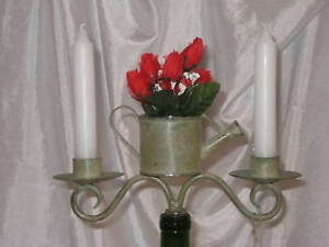 Wine Bottle Topper, Watering Can w/ Glass Flower Vase  For Tapered Candles