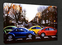 VW BEETLES CARS ON ABBEY ROAD RETRO WALL ART CANVAS PRINT PICTURE READY HANG