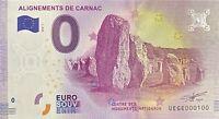BILLET 0  EURO  ALIGNEMENTS DE CARNAC   FRANCE  2018  NUMERO 100