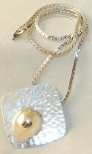 Vintage Blackinton Hammered 925 Sterling & 14K Yellow Gold Necklace-925 Chain