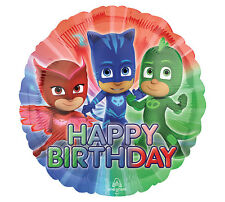 "Pj Masks Disney Round 17"" Foil Balloons Red Blue Happy Birthday Party 3 Pack"