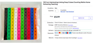 100 1cm Interlocking Linking Snap Cubes Counting Maths Home Schooling Teaching