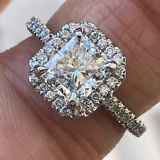 Radiant Halo Diamond Engagement Ring - 2.00+ CTW Soleste -Price For Setting Only