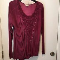 Live And Let Live Size 1X Tie Dye Merlot Embroidered Front NWT