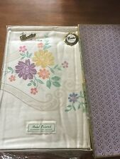 "New Vintage Damask Pure Irish Linen Table Cloth 52"" x 70"" Hand panted"