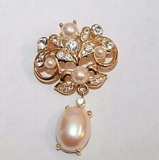Brooch Pin - Signed Monet - Filigree Dangle - Faux Pearls Rhinestones Gold Tone
