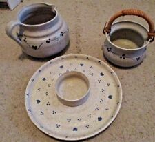 Beautiful Pottery Lot 3 PC Pitcher, Bowl & Chip Dip Tray, Signed, Glazed Quality