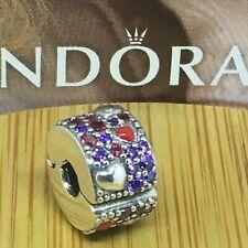 Charm clip PANDORA Cuori Asimmetrici con Pavè in argento 925 Nuovo Originale