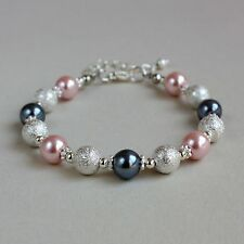 Silver stardust blush pink grey pearls beaded bracelet wedding bridesmaid gift