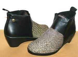 ❤️BERNIE MEV Zen Celine Black Leather Bronze Woven Memory-Foam Boot 38 7.5 NEW