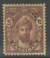 ZANZIBAR SG307 1927 25c PURPLE/YELLOW MTD MINT