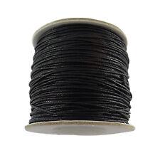10 mètres de fil coton ciré couleur noire diamètre 1 mm-fcn010