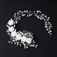Hair Accessories For Women Charming Pearl Flower Hairband Wedding Bride Tiaras L