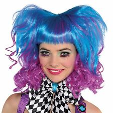 Ladies Punk Rock Mad Hatter Wig Blue Purple Electric Ombre Volume Curl Fringe BN