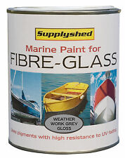 SUPPLYSHED Marine Boat Gloss WEATHER WORK GREY Paint for Fibreglass & GRP 750ml