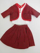 Vintage 3 Piece Pleated Skirt Set Red/Black Check for Medium Doll Terri Lee etc.