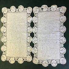 2 x Vintage Hand Crocheted Cream Rectangular Doilies 42cm x 23cm