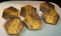 Vintage Set of 6 Plastic Coasters Iridescent Yellow Gold Grey Swirls Glitter 60s