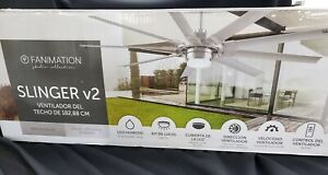 Fanimation Slinger V2 72' Gray Brushed Nickel Indoor Outdoor New in Box 0581598