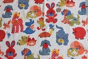 "Vintage Conversational Children's Print Fabric c1970s~Dogs,Cats,Ponies~19""LX19""W"