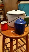 vintage enamelware stock pot, Turkish coffee pitcher, and syrup / butter warmer