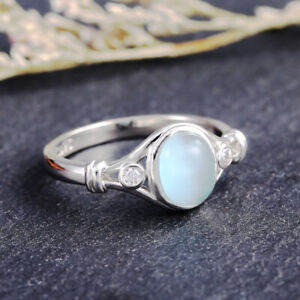 Fashion Wedding Band Rings for Women 925 Silver Jewelry Moonstone Ring Size 6-10