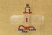 Vintage Goldtone Blue Red Clear Black Rhinestone LIGHTHOUSE Brooch Pin C#