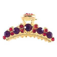 USA Hair Claw Clip Rhinestone Crystal Hairpin Elegant Jeweled Gold Red New