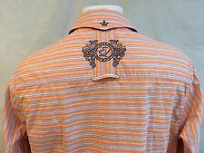 English Laundry Men's Button Front Orange Striped Long Sleeve Shirt Size Medium
