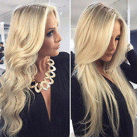 100% 8A Indian Virgin Human Hair 360 Lace Frontal Wig Blonde Straight Full Wig h