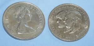 1981 SILVER CROWN COINS x 2 PRINCE CHARLES & PRINCESS DIANA VERY FINE
