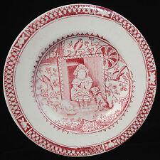 Staffordshire Childs Red Tea Set Plate LITTLE MAE PETS Cat Dog Allerton