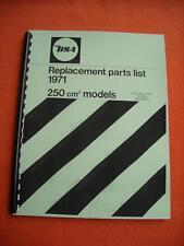 Parts Manual 1971 BSA B25 B25SS Gold Star Scrambler B25T Victor 250 Trail