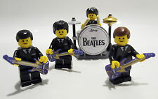 THE BEATLES MINIFIGURES Custom Lego band DRUM KIT & GUITARS Fab 4 birthday gift