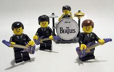 Los Beatles Minifiguras Lego Personalizado Band Drum Kit y guitarras FAB 4 Regalo De Cumpleaños