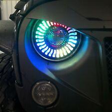 LED Headlights Halo Angle Eyes For Jeep Wrangler CJ TJ JK 7 Inch Round Black
