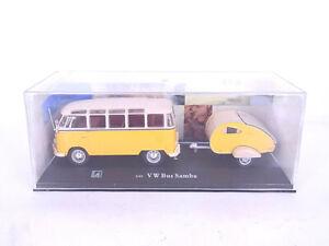 91865 Cararama VW Bus Samba + Caravane Jaune/ Beige Modèle 1:43 IN Ovp