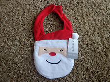 Carter'S brand Christmas Nwt one sz Santa's Face bib white/red
