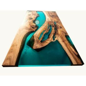 Green Resin River Epoxy Resin Solid Acacia Wood Epoxy Dining Table Top Home Deco
