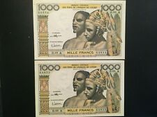 WEST AFRICAN STATES - IVORY COAST (2 Notes)  1000 Francs  1959-1965  - CRISP!
