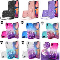 For Samsung Galaxy A10E Liquid Glitter Diamond Ring Stand Phone Case Cover
