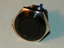 3 Amp Flat-top Black momentary push button switch - 16mm