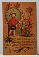 New Year, May all things Glad Be Yours, Boy with Golden Clock 1913 Postcard F20