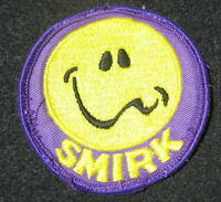 SMIRK EMBROIDERED SEW ON ONLY PATCH UNIFORM 3""