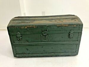 Vintage STEAMER TRUNK wood storage chest camelback humpback green antique box PA