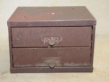 Vintage 2 drawer metal parts cabinet jewelry storage chest industrial box