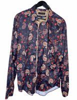 Western Hipster 100% Cotton (silk Cotton) Navy Red Paisley Buttondown Shirt XXL