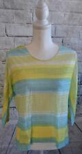 Blue Yellow, Green, Lightweight Striped High-Low Shirt top Women's Medium