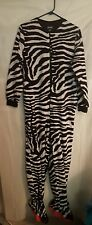 Nick & Nora Zebra Pajamas size M Fleece One Piece Footie Medium